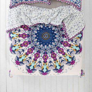 UO King Duvet Cover Purple White Medallion Pattern